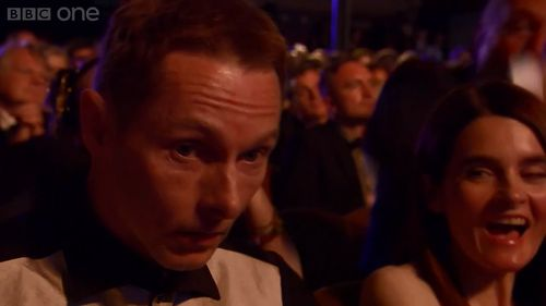 Sean Harris winning BAFTA 2014  his thoughts probably 'Fuck now i have to get up there' :D