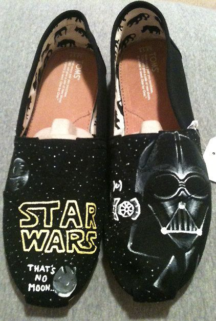 Hand Painted TOMS  Star Wars by YourSoleExpression on Etsy, $100.00              (Maybe some Tom Hidleston ones for L)