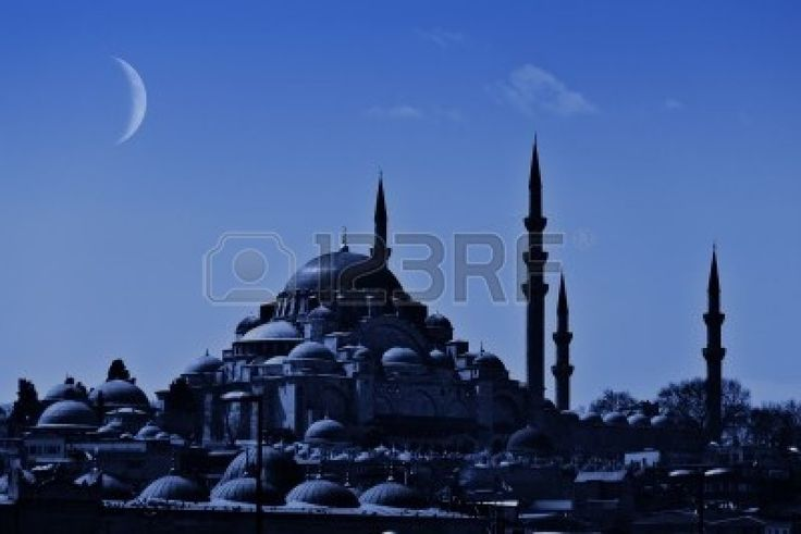 A night view of the majestic Suleiman Mosque in Istanbul with crescent moon in the sky. Stock Photo - 12069275
