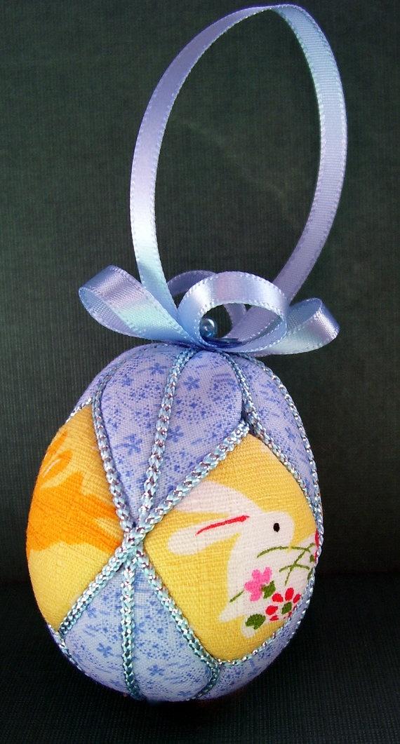 Kimekomi Easter Egg Ornament  Bunnies in Blue by ornamentdesigns, $10.00