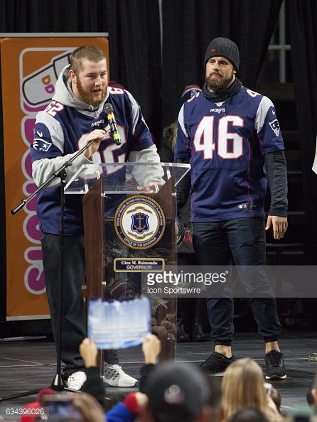 New England Patriots offensive guard Joe Thuney speaks to the crowd during the Patriots Victory Rally at the Dunkin Donuts Center on February 7 in...