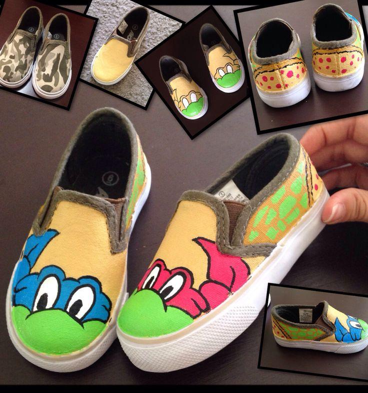 DIY ninja turtles shoes. Tmnt. Make NinjaGO Shoes. Hunter 11 &  K 14 shoes