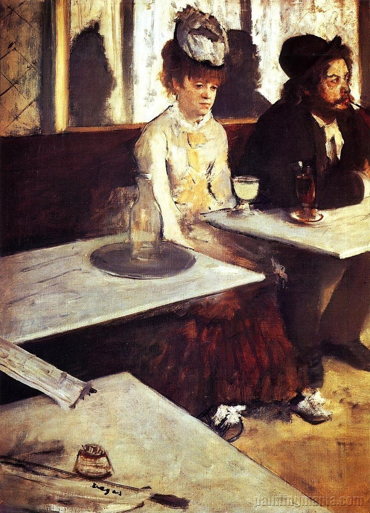 I wonder what she is thinking. (L'Absinthe by Edgar Degas)