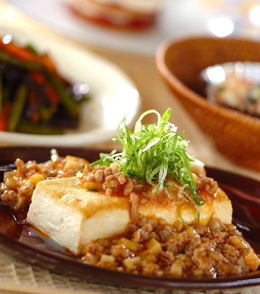 「マーボーソースがけ豆腐ステーキ」の献立・レシピ - 【E・レシピ】料理のプロが作る簡単レシピ/2009.06.10公開の献立です。