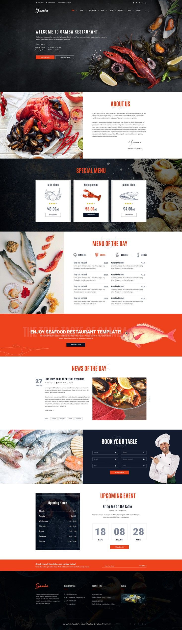 Gamba is a powerful, modern and creative #PSD template, designed for food, bakery, cafe, pub & #restaurant #websites.