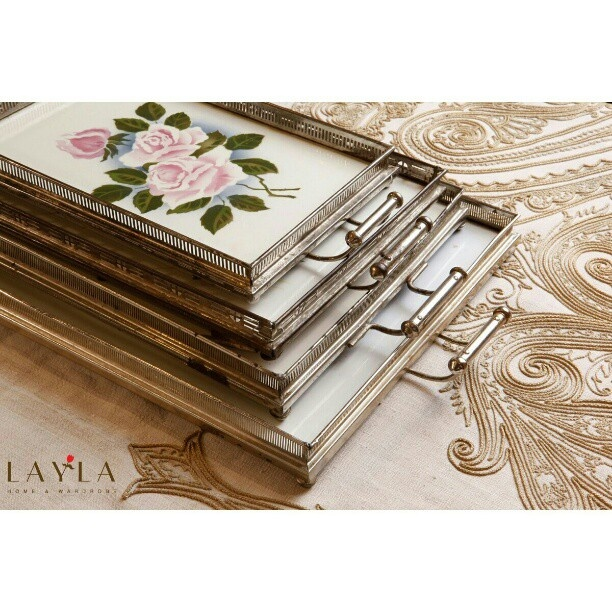 Hand Painted Vintage porcelain trays and placed on hand embroidered Table spread from Layla home and wardrobe!  #vintage#trays#tablespread#handmade#handpainted#embroidery#layla#jeddah#gallery
