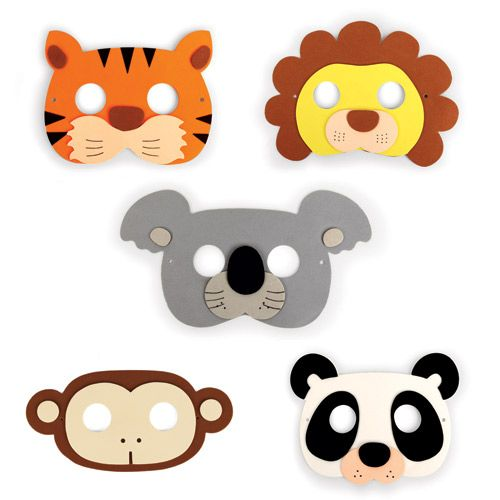 Masques de fête Jungle (Set de 5 : lion panda singe tigre koala)