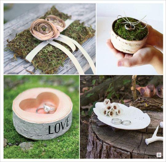 mariage rustique champêtre porte alliances rondin de bois coussin alliances en mousse ring bowl