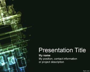 Esta plantilla PowerPoint de informática es un fondo de diapositivas para PowerPoint gratis para presentaciones de informática en PowerPoint con un fondo oscuro y efectos digitales en la parte izquierda