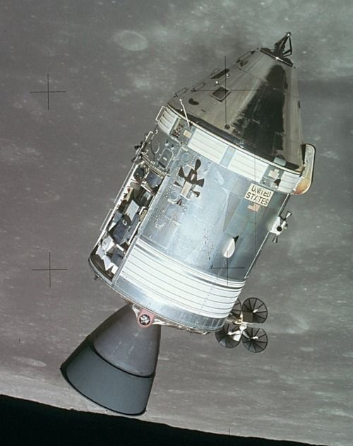 Apollo 15  Command and Service Module over the moon