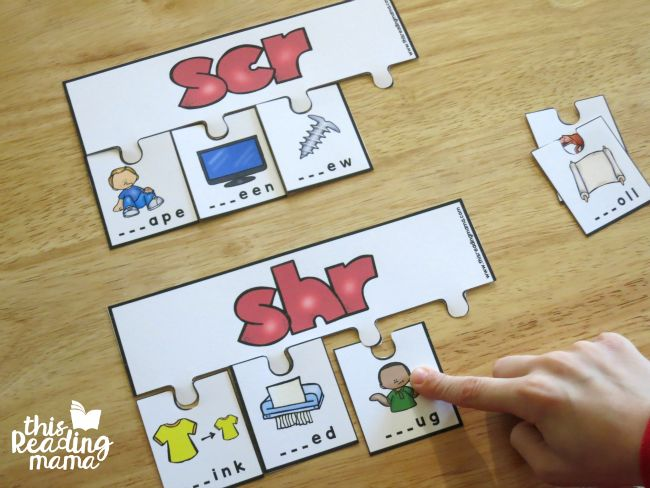 working and sorting two 3-letter consonant clusters puzzles