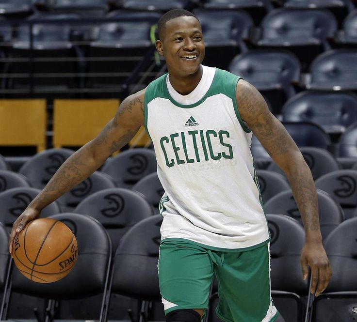 Atlanta, GA - 4/18/2016 - Boston Celtics Terry Rozier jokes with a teammate during practice at Philips Arena as they prepare for their second playoff game against the Hawks in Atlanta, Georgia April 18, 2016. Jessica Rinaldi/Globe Staff Topic: Reporter: