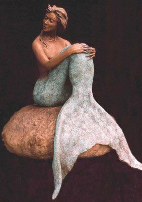 """""""If Only"""" Life-size Figurative Bronze Mermaid Sculpture by Edd Hayes"""