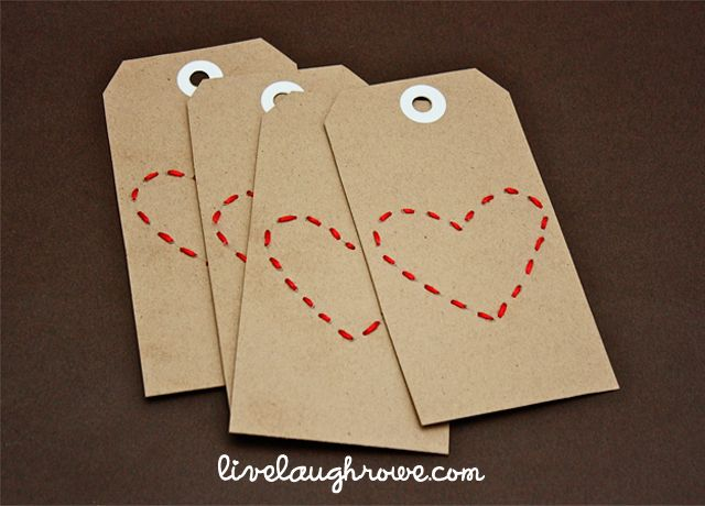 DIY: stitched heart tags