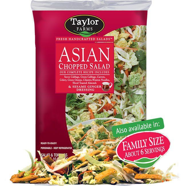 Taylor Farms Asian Chopped Salad Kit includes crisp chopped vegetables and fresh herbs paired with wonton noodles, almonds and a sesame ginger dressing.