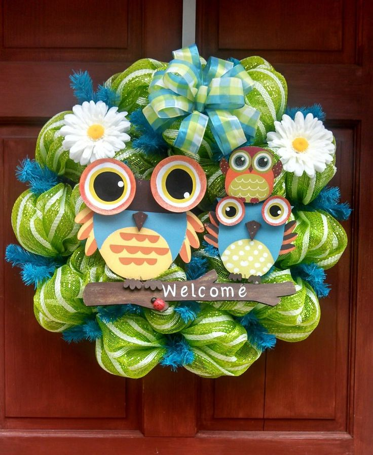 kuhles deko trittstein garten welcome kalt Images der Cbdccbbbbdcfb Owl Wreaths Deco Mesh Wreaths Jpg