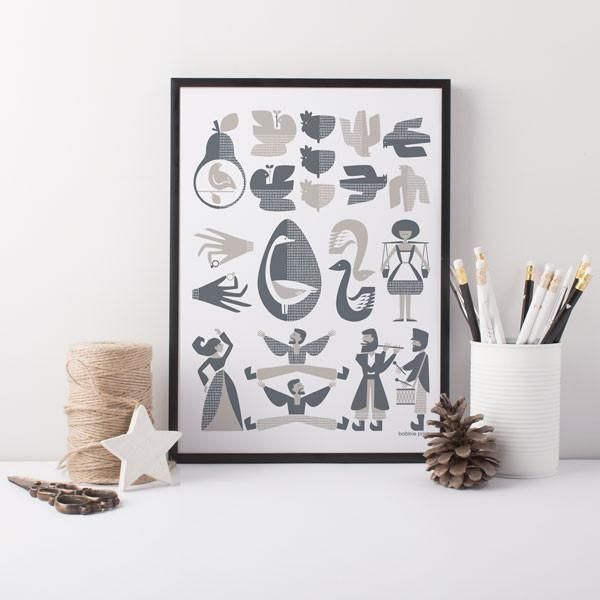 Twelve Days of Christmas - Mid century style, hand pulled, screen printed wall art.   Inspiration for this mid-century style print has been taken from the traditional Christmas song, The Twelve Days of Christmas. Each one of the well known gifts is represented here, from the Partridge in a Pear Tree and two Turtle Doves through to the eleven Pipers piping and twelve Drummers drumming, each one has been carefully illustrated and detailed with small touches of geometric patterns. The really…