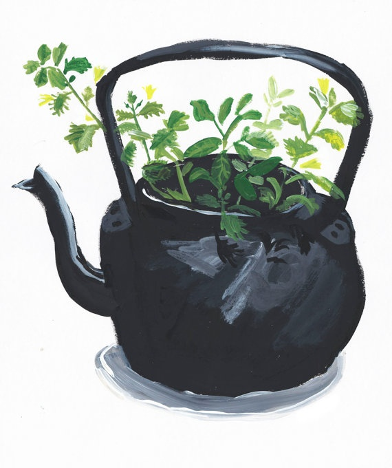 Like this (Plant Pot print - Kettle. A4 Art print. By Rob Mason)? Check out the Teapot Collection at the Newark Museum.