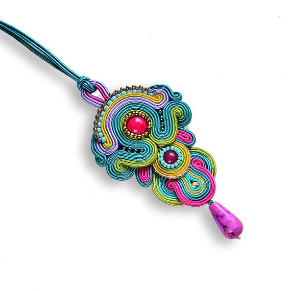 Large colorful Pendant Soutache. Bollywood colorful jewelry. Oriental pendant. Large and charming. Oriental bohemian jewelry. Boho style.