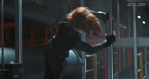 avengers  black widow gif | And Captain America jumping away from shit blowing up