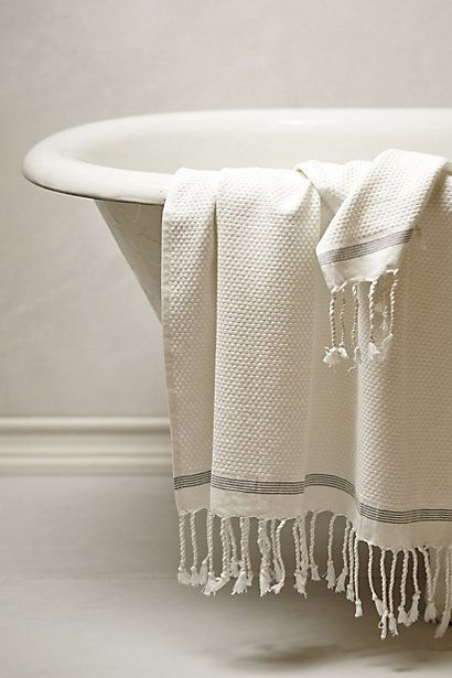 Coyuchi #Mexican spa styled towels! The fringe is poncho worthy, the organic cotton pampers your bod! #anthroregistry Mediterranean Towel Collection - anthropologie.com