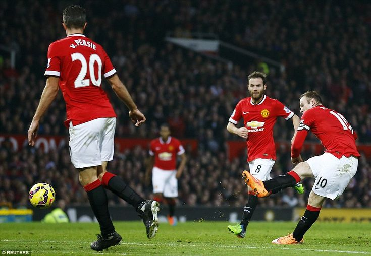Rooney doubles United's lead against Hull at Old Trafford on Saturday...