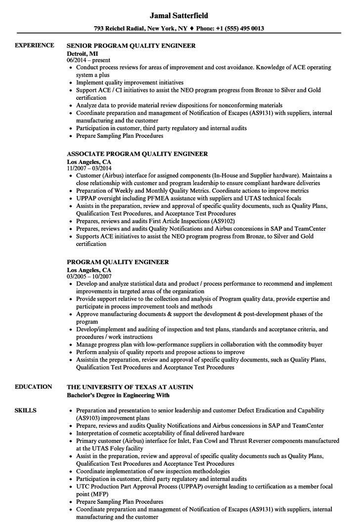 Program Quality Engineer Resume Samples Velvet Jobs Best