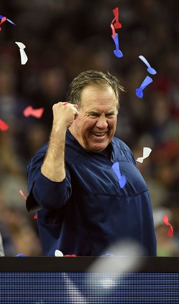 New England Patriots Head coach Bill Belichick celebrates after defeating the Atlanta Falcons 3428 in overtime during Super Bowl 51 at NRG Stadium on...