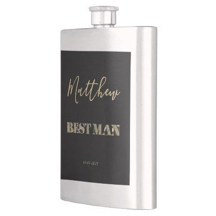 Best Man Thank You Black Gold Glitter Typography Flask - diy cyo personalize design idea new special
