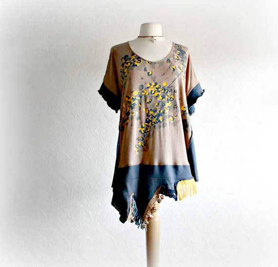 Brown Women's Top 2X Plus Size Clothing Navy Blue Shirt Bohemian Tunic Eco Clothing Loose Fit Boho Clothes Short Sleeves 'MANDA'