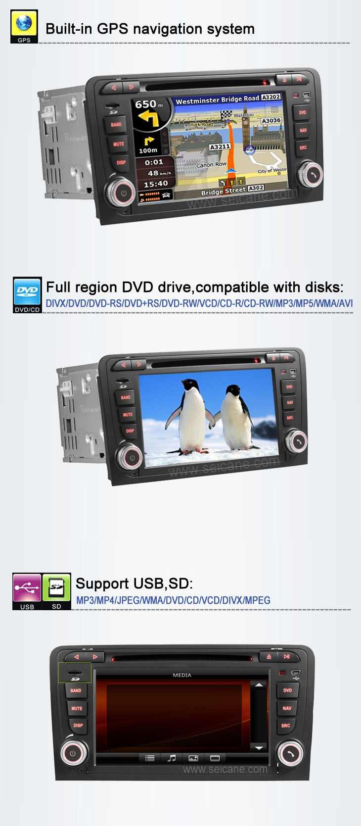 Android audi a3 car dvd player with gps usb sd