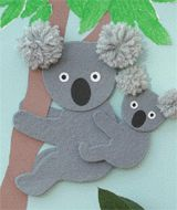 cute koala kraft-have kids cut out koala bodies from pattern (paper or felt) and use pom poms for ears