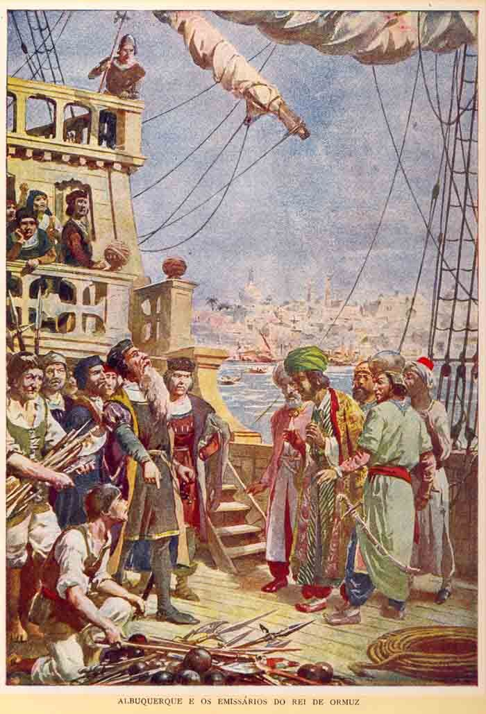 Portuguese Admiral Afonso de Albuquerque receives emissaries from the King of Ormuz on his ship - 1507