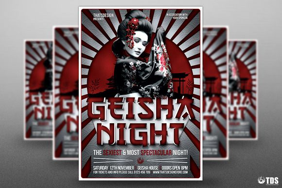 Geisha Night Flyer Template V6 by Thats Design Store on @creativemarket