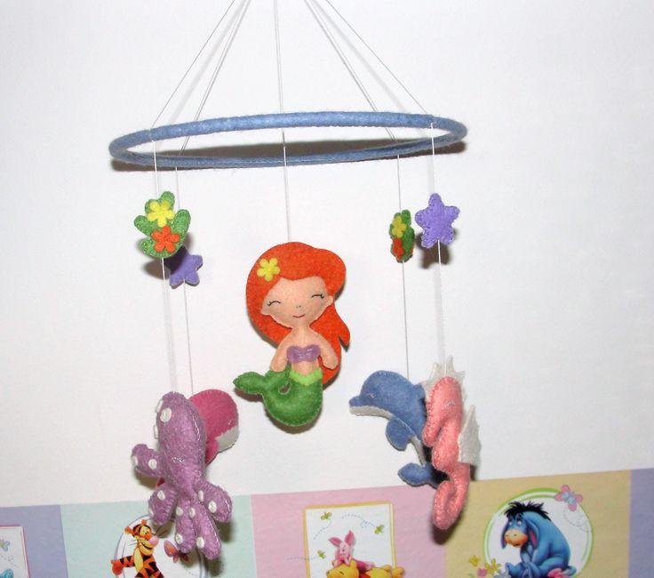 Wool Felt Sea Crib Mobile, Baby Crib Mobile, Nursery Decoration, Mermaid, Baby Decor, Baby Mobile, Ocean Animal Mobile, Hanging Mobile by NitaFeltThings on Etsy