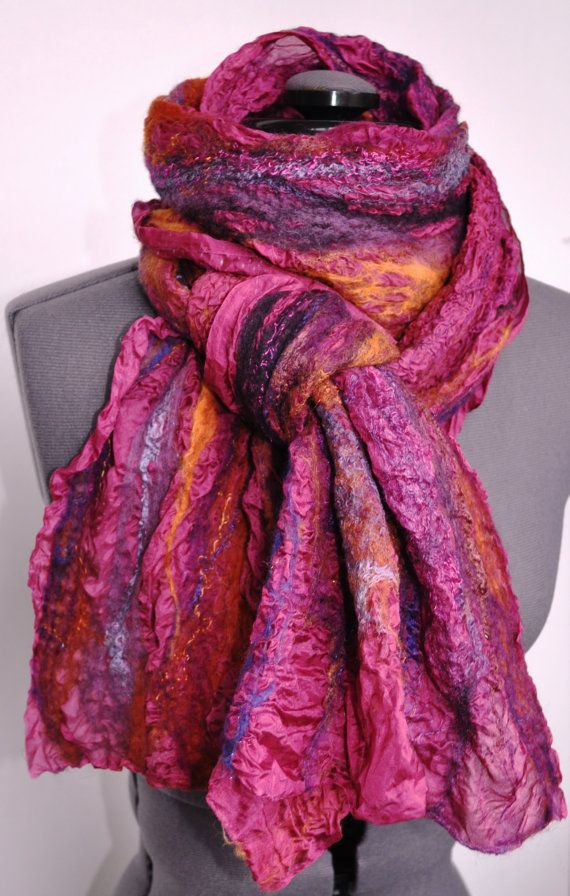 "Link to Etsy says this is sold, but it also says ""Nuno felt scarf Purpur handmade to order"""