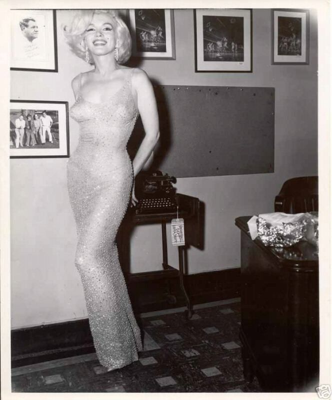 """Marilyn's """"Happy Birthday, Mr. President"""" dress. Unbelievably beautiful. It was so skin-tight that it had to be sewn onto her body."""