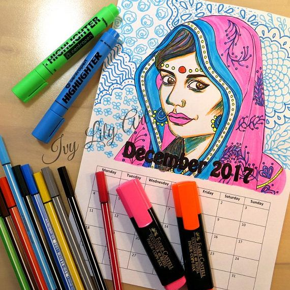 Printable Coloring Calendar December 2017 Indian Girl PDF. December 2017 Coloring Calendar! Printable PDF coloring calendar you can download instantly with a portrait of an Indian girl. This listing only includes the calendar page for December 2017. The name of the month can also be colored.