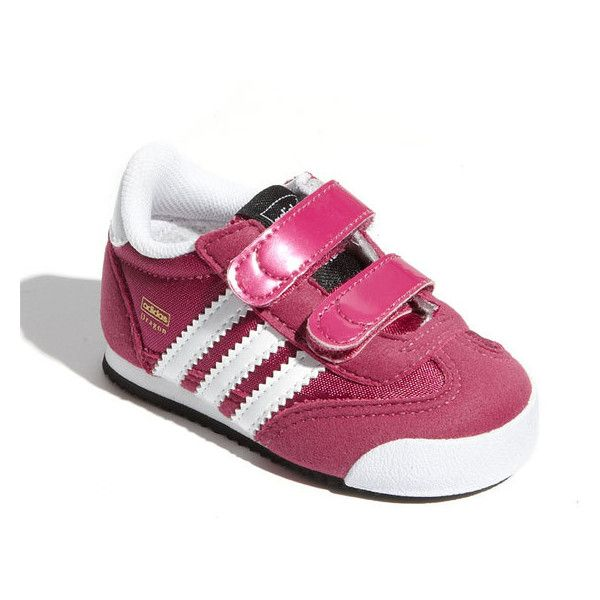 adidas 'Dragon' Sneaker (Baby, Walker & Toddler) Bloom/ White 9 M (53 BRL) ❤ liked on Polyvore featuring baby shoes