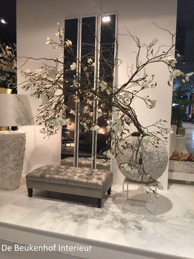 Lamp # Spiegels # Footstool # Pot met Magnolia tak wit # verkrijgbaar bij De Beukenhof Interieur