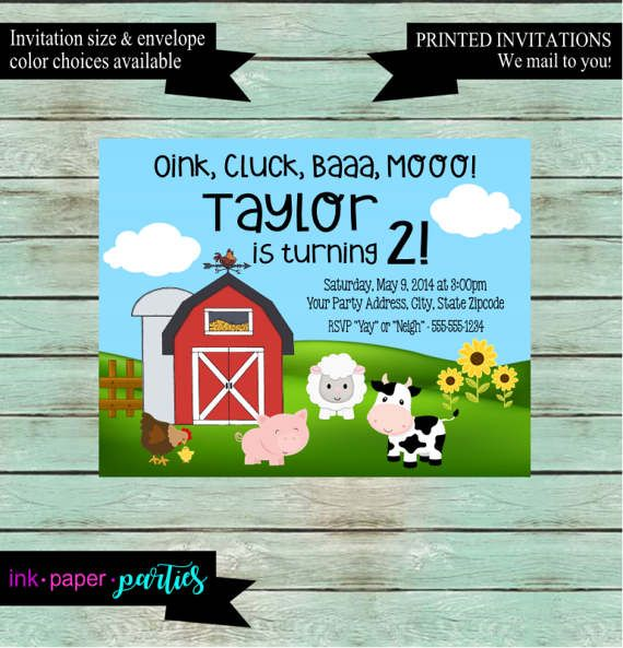 Farm Barn Animals Pig Cow Birthday Party by InkPaperParties