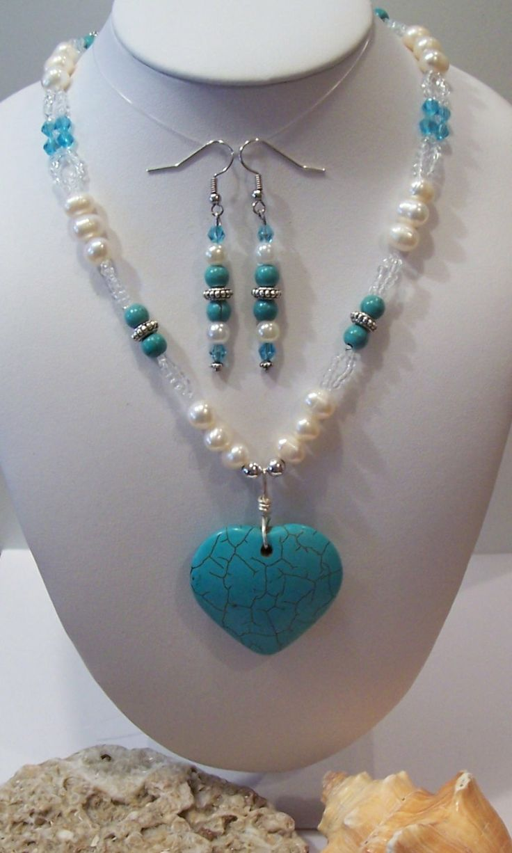 Turquiose Howlite Beads And Heart Necklace And Earrings