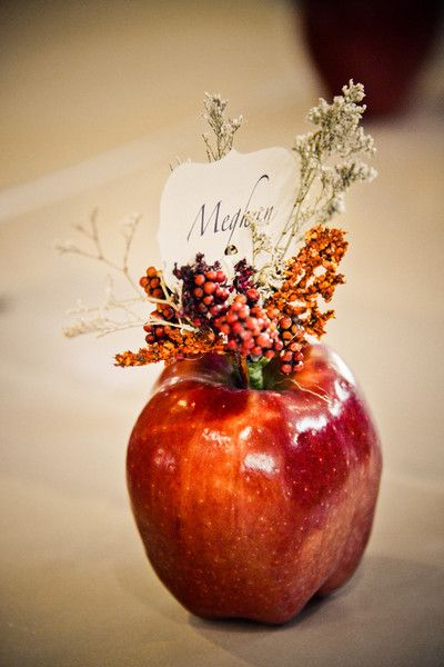 An eco-friendly and might we say... delicious.. place card idea! YUM! {Elevate Photography}