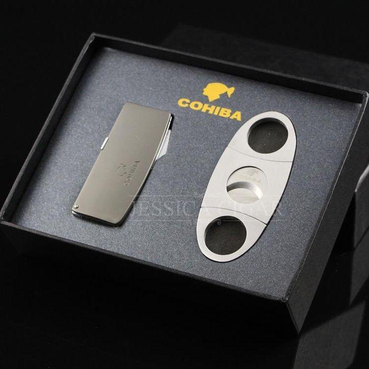 COHIBA cigar ligther set 3 Cigar Punch Stainless Steel Cigar Cutter Set