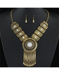 Rhinestone and Gem Inlaid Hollow Golden Round Pendant with Tassel Design Fashion Necklace and Earrings…