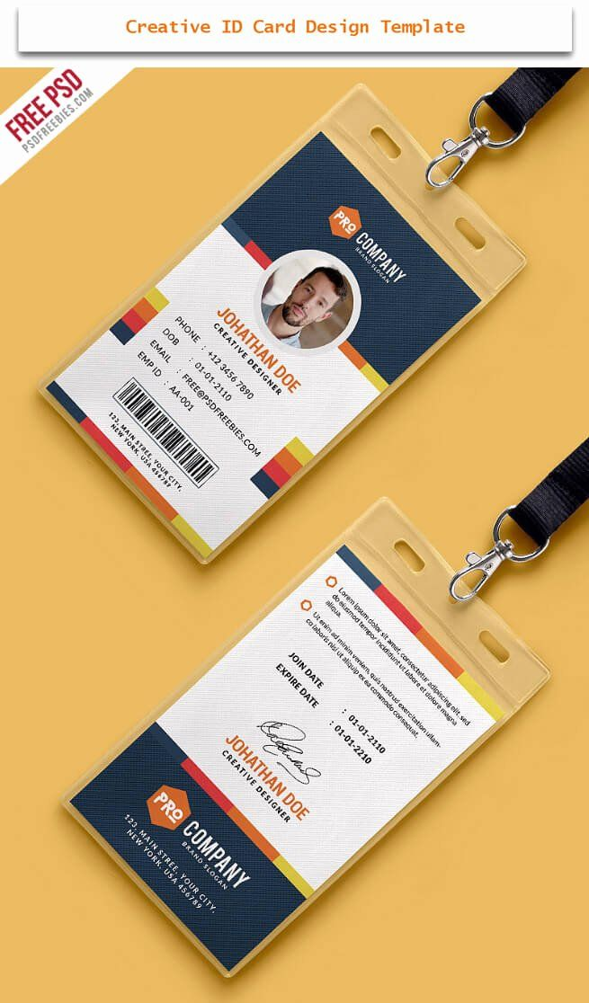 Id Card Design Template Beautiful 30 Creative Id Card Design Examples With Free Download Identity Card Design Card Design Employee Id Card