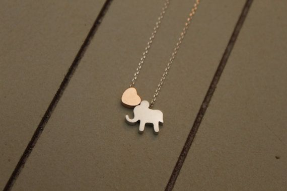 Animal Lover Necklace Heart Minimalist Elephant by ashabbypurpose