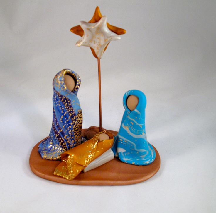 Hand Sculpted Polymer Clay Nativity Cre'che. $50.00, via Etsy.