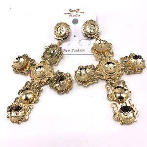 Baroque Catwalk Models Big Cross Earrings Vintage Dangle Earrings For Women New