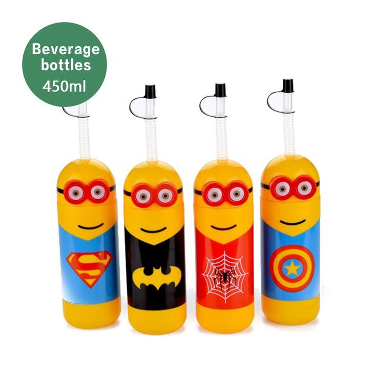 wholesale my bottle 450ml cartoon soda water bottles yellow Minions bottles,the most popular bottle for milk tea beverage stores